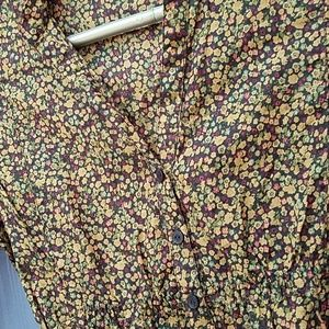 Floral brown button up dress top sinched waist